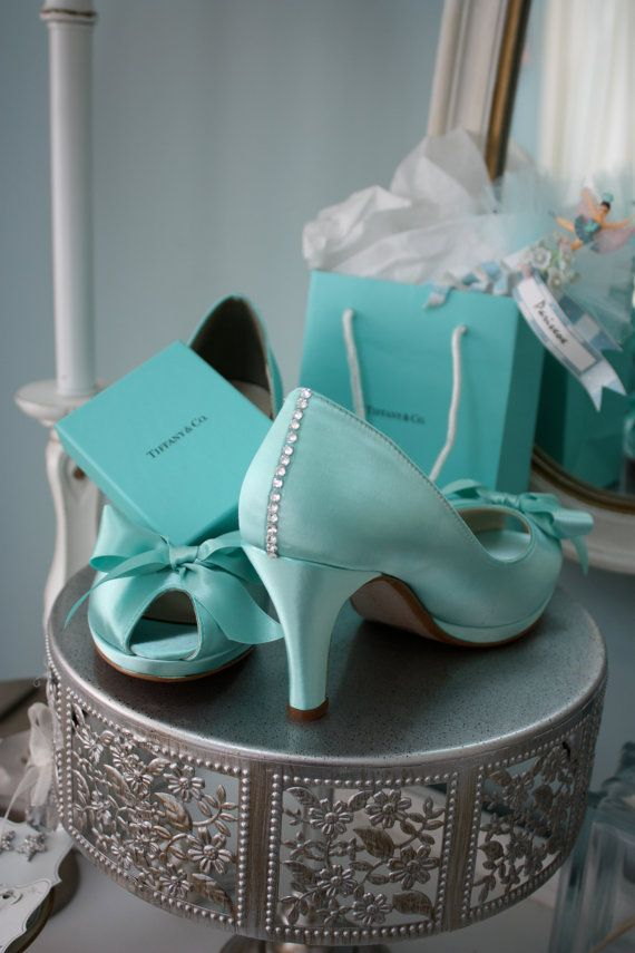 Wedding Shoes - Tiffany Blue - Crystals - Tiffany Blue Wedding - Dyeable Choose From Over 100 Colors - Wide Sizes Available - Shoes Parisxox on Etsy, $174.00