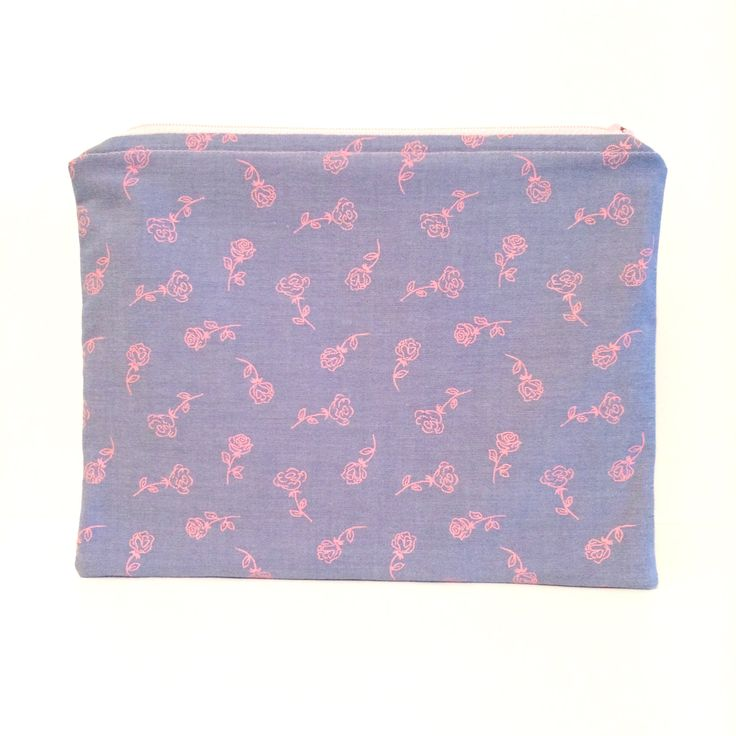 Chambray Pink Roses Medium Pouch/Bag by strawberriesncreamm on Etsy