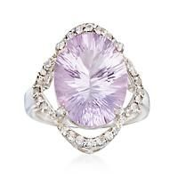 """7.75 ct. t.w. Pink Amethyst and .40 ct. t.w. White Topaz Ring in Sterling Silver. Size 6"":… #Jewelry #ClearanceJewelry #DiscountJewelry"