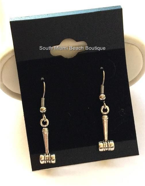 Silver Law Earrings Lawyer Gift Judge Gavel Jd Attorney Auctioneer