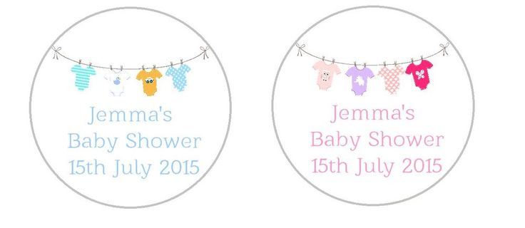 30 x 50mm Personalised Round Baby Shower Stickers Labels Choice Of Colour