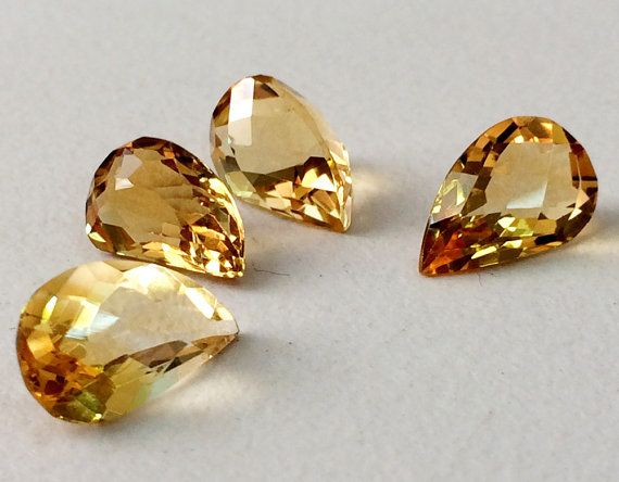 4 Pcs Citrine Cut Stone Lot Fancy Shape Faceted by gemsforjewels
