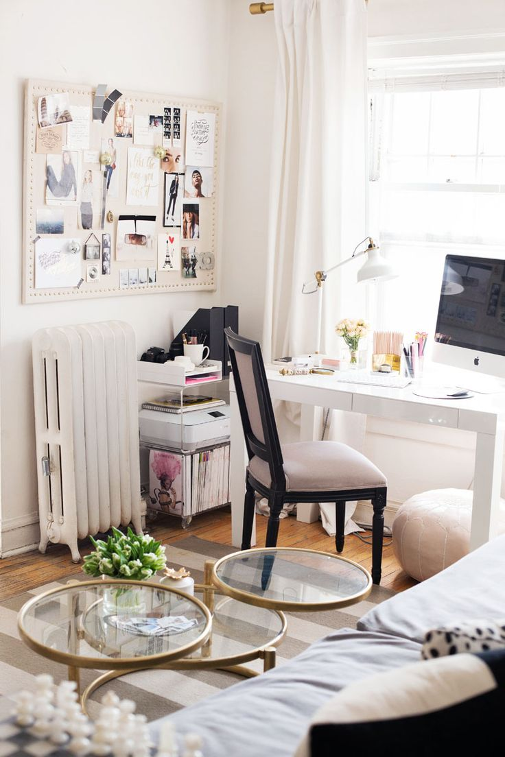 Circular Table And Pouffe In Same Space Living And Office Area - Via The Everygirl