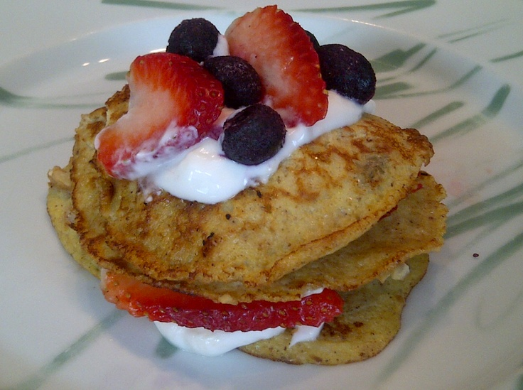 Banana Pancakes with Vanilla Greek Yogurt, Strawberries, Blueberries ...