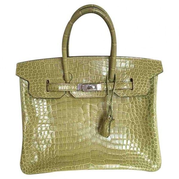 Pre-owned Hermès Birkin Crocodile Handbag (156.405 BRL) ❤ liked on Polyvore featuring bags, handbags, green, women bags handbags, crocodile embossed handbags, green croc handbag, croco handbag, croc handbags and pre owned purses