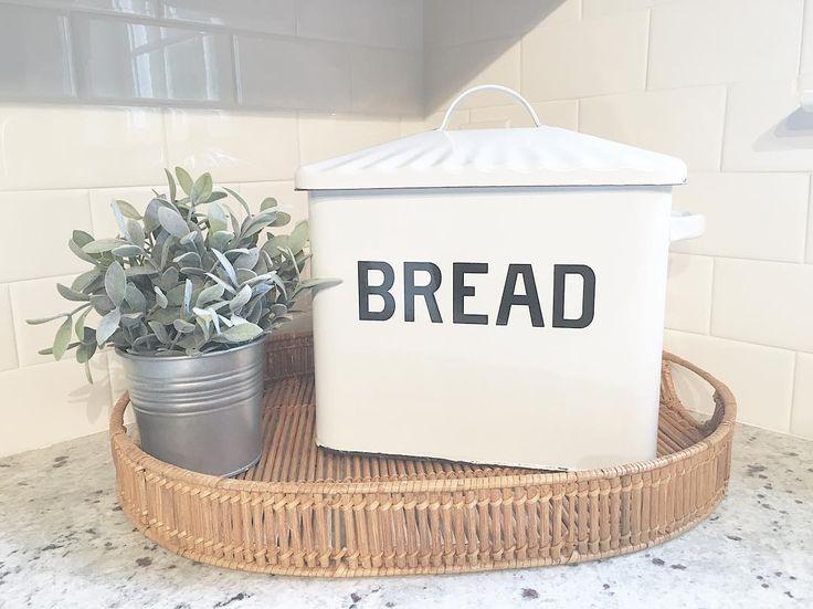 Farmhouse Bread Box // basket tray // galvanized // lambs ear