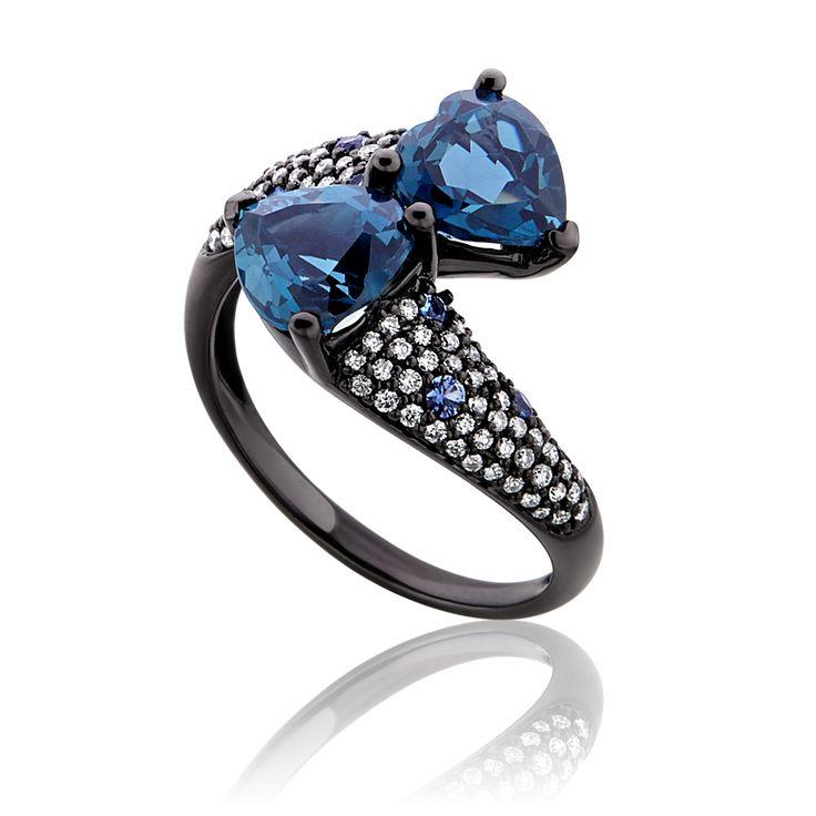 Δαχτυλίδι Diamonds Collection από χρυσό 18K με μπριγιάν 0.39ct και london blue topaz