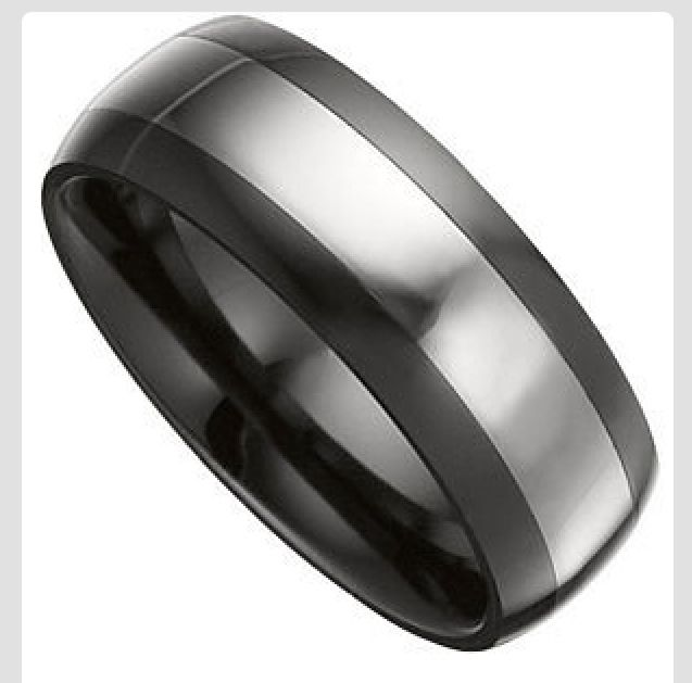 Black And Silver Men S Wedding Band