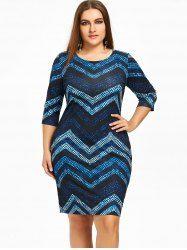 Plus Size Zig Zag Knee Length Dress - BLUE 6XL