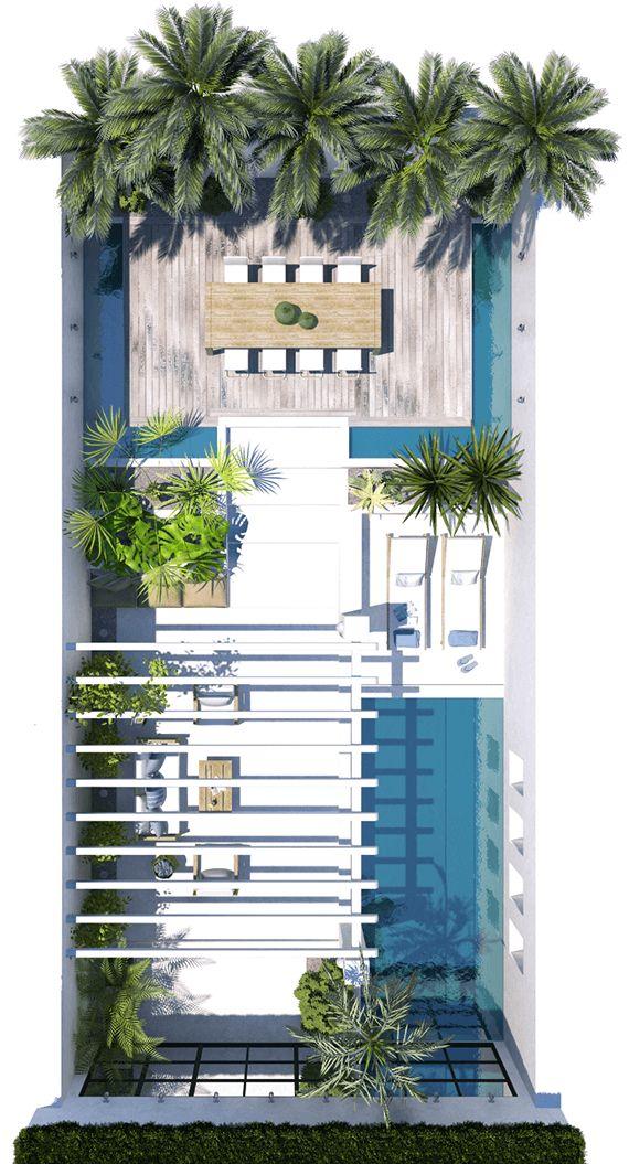 patio con piscina