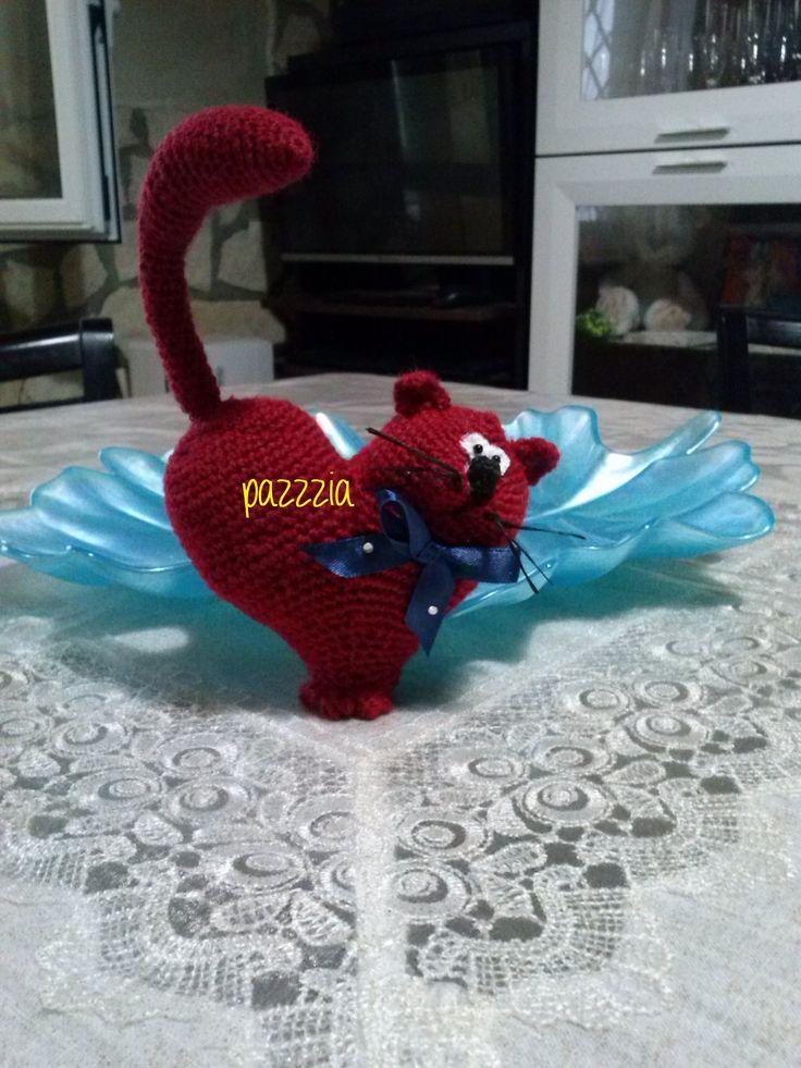 Gatto - Cuore crochet
