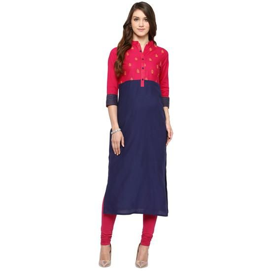 LadyIndia.com #Kurtis, Embroidered Cotton Blue Kurti For Women, Kurtis, Kurtas, Cotton Kurti, https://ladyindia.com/collections/ethnic-wear/products/embroidered-cotton-blue-kurti-for-women