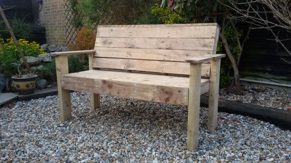 120cm wide 3 seater garden bench constructed from pallets and reclaimed timber. Good solid garden bench meaning years of enjoyment.  If