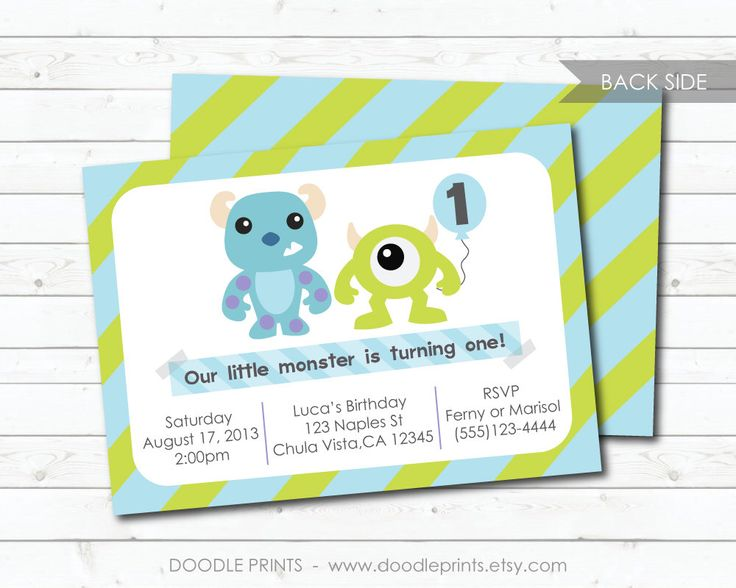 """Monsters Inc Invitation - Printable Birthday Party Invitation - Customized Printable Invitation """"Monsters Inc - Mike and Sully"""" 5x7"""" OR 4x6"""" by doodleprints on Etsy https://www.etsy.com/listing/157605502/monsters-inc-invitation-printable"""