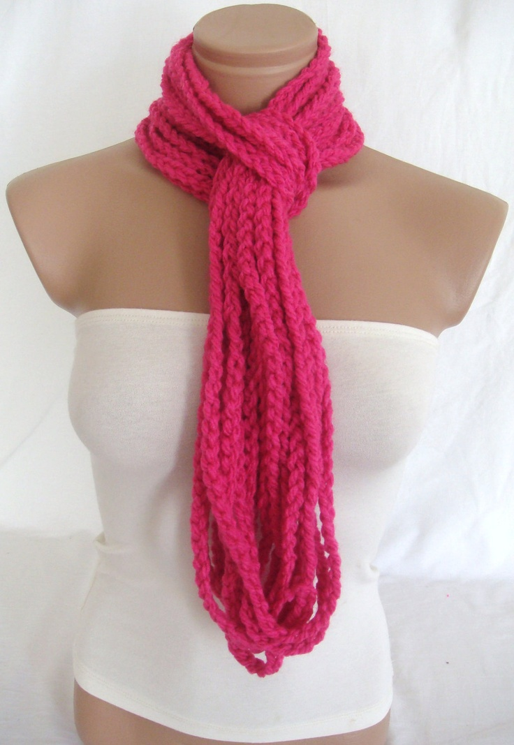 Crocheted Scarf Infinity Rope Scarf Chain Scarf by Arzus on Etsy