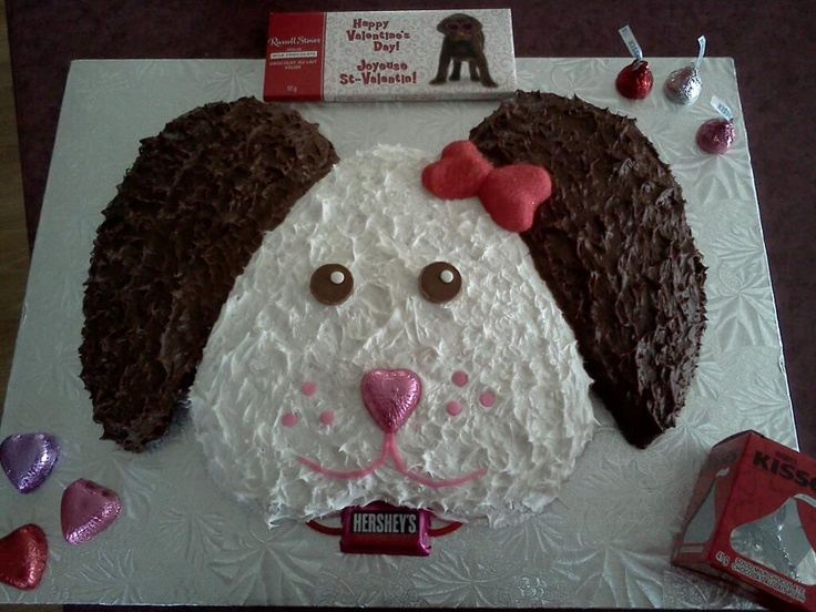 Edible Valentine Dog cake made with a heart cake pan ...
