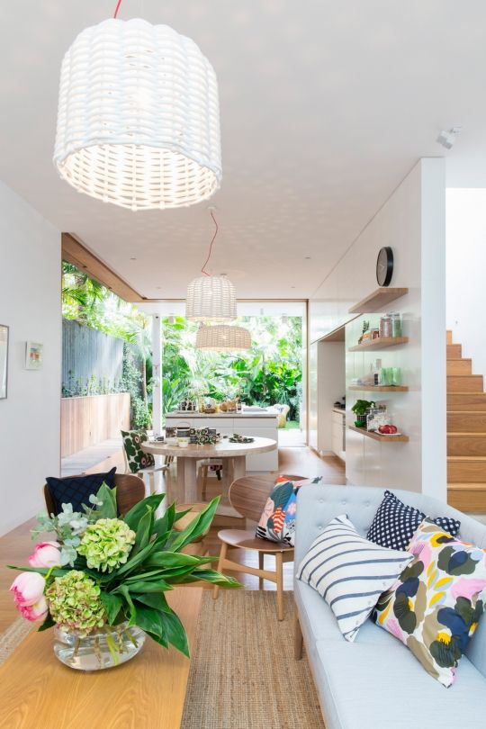 An airy Sydney home bursting with colour and print: Marimekko's vibrant printed cushions and other products work beautifully in this light and airy Sydney home.