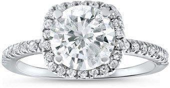 Pompeii3 2 1/2 Cttw Diamond Engagement Ring Cushion Halo Round Cut 14k White Gold. #diamondengagementrings #cushioncut #cushioncutring #haloring