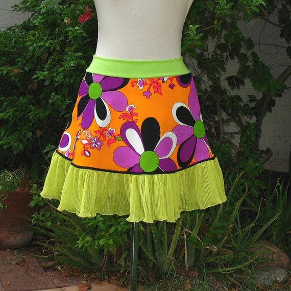 Purple Lime Flower Power mini Skirt 1960s