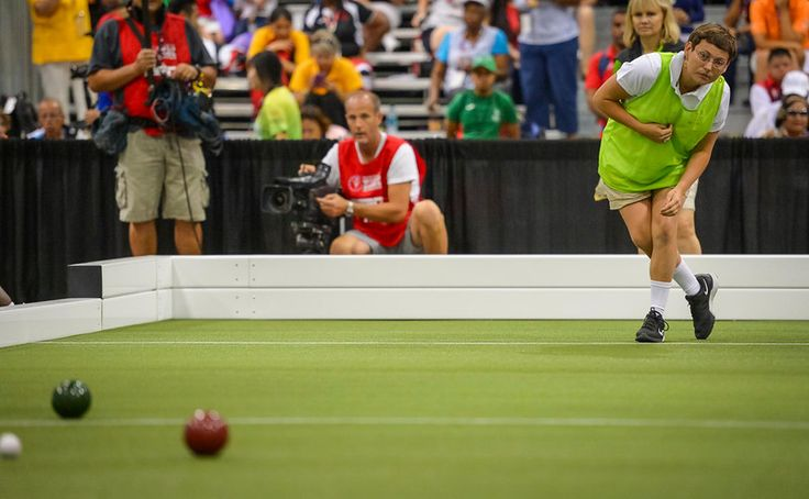 . Nicole Landoskey tries to put some body english on her shot for Team USA Bocce, in team play at the Special Olympics Monday, July 27, 2015.  The team went on to defeat Panama and win the gold medal.   (photo by David Crane/Los Angeles Daily News)