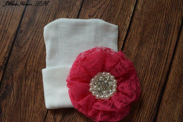 Sombrero de recién nacidos al hospital con flor color de rosa