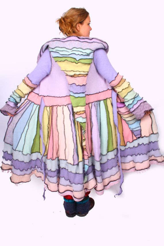 Rainbow Recycled Sweater Elf Coat Pattern by katwise on Etsy
