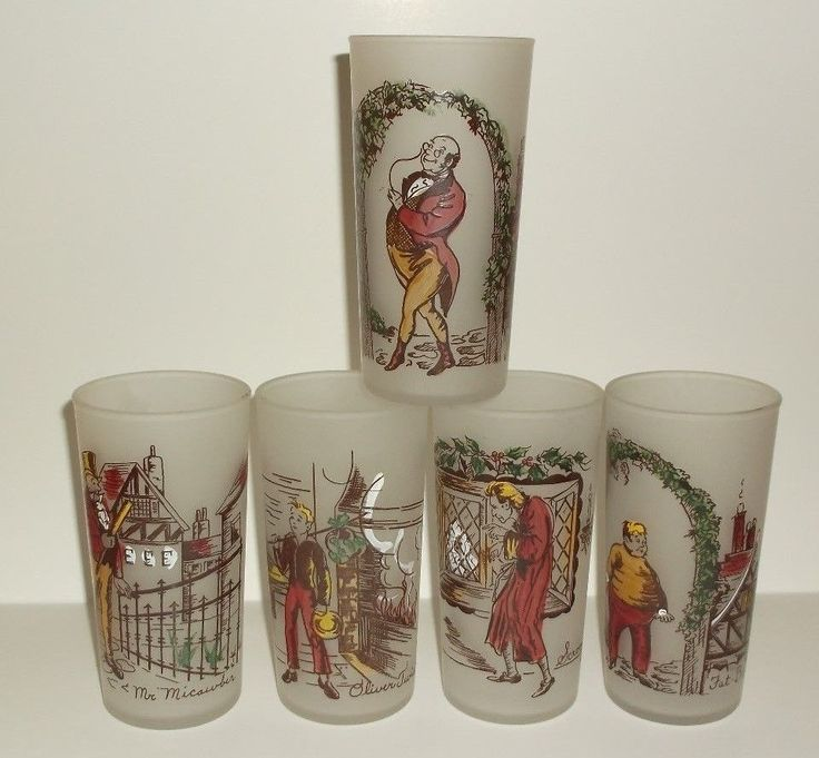 They have characters on them depicted from CHARLES DICKENS novels. They are a FROSTED glass with a picture on each. There is OLIVER TWIST, MR. MICAWBER, MR.PICWICK, SCROOGE and FAT BOY. They are from FEDERAL GLASS.  1940s-1950s