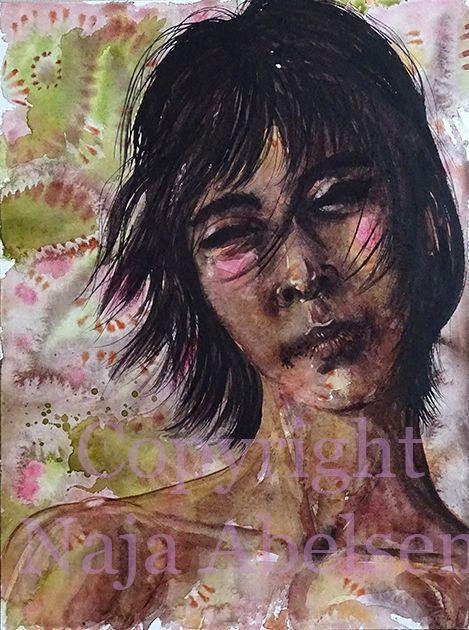 Young boy. Watercolour. Fictive portrait/face. Naja Abelsen 2016. www.najaabelsen.dk