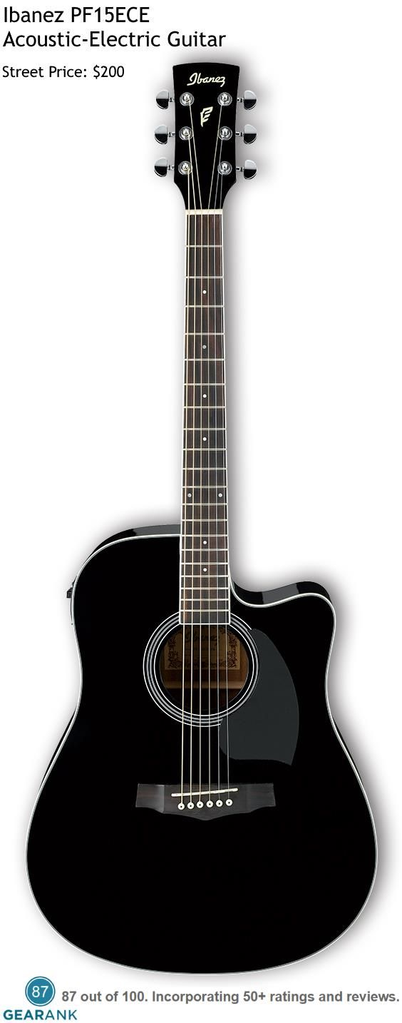 Ibanez PF15ECE. This is one of the highest rated acoustic-electric guitars under $200. For a detailed Guitar to Acoustic Guitars see https://www.gearank.com/guides/acoustic-guitars