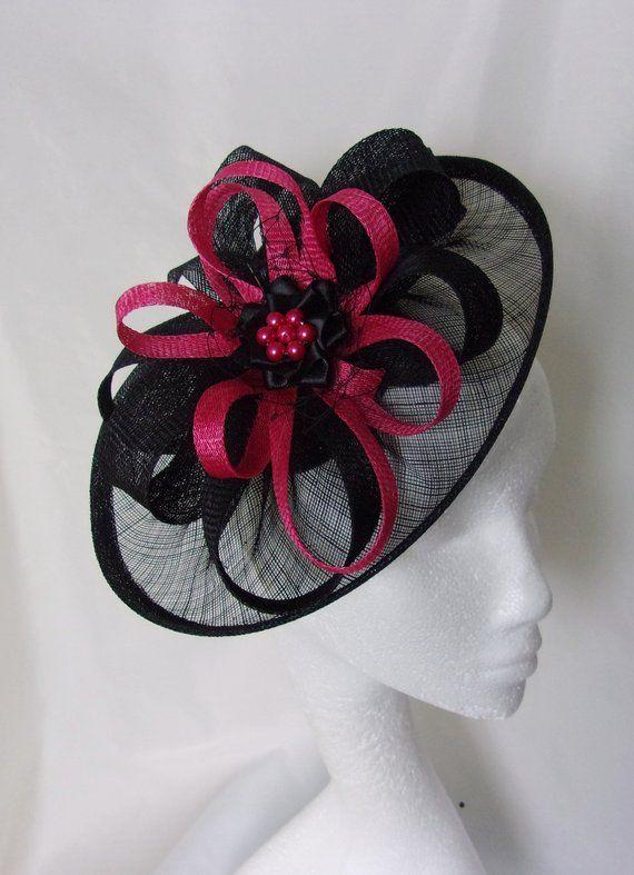 bf16015880dbb Black and Cerise Raspberry Pink Hat - Sinamay Loops   Pearls Saucer  Fascinator Formal Wedding Derby
