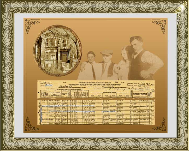 Tutorial on making a family history keepsake using census data, photos of family members, and a photo of their home