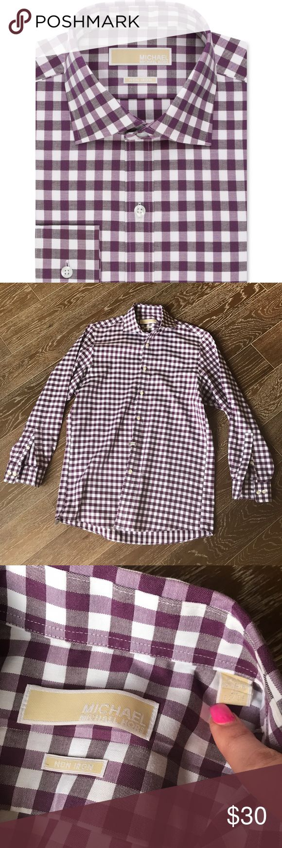 Michael Kors non iron dress shirt bold gingham Bold gingham print dress shirt in purple and white. Nice dress shirt in excellent condition with no flaws. Size 15 32/33. MICHAEL Michael Kors Shirts Dress Shirts