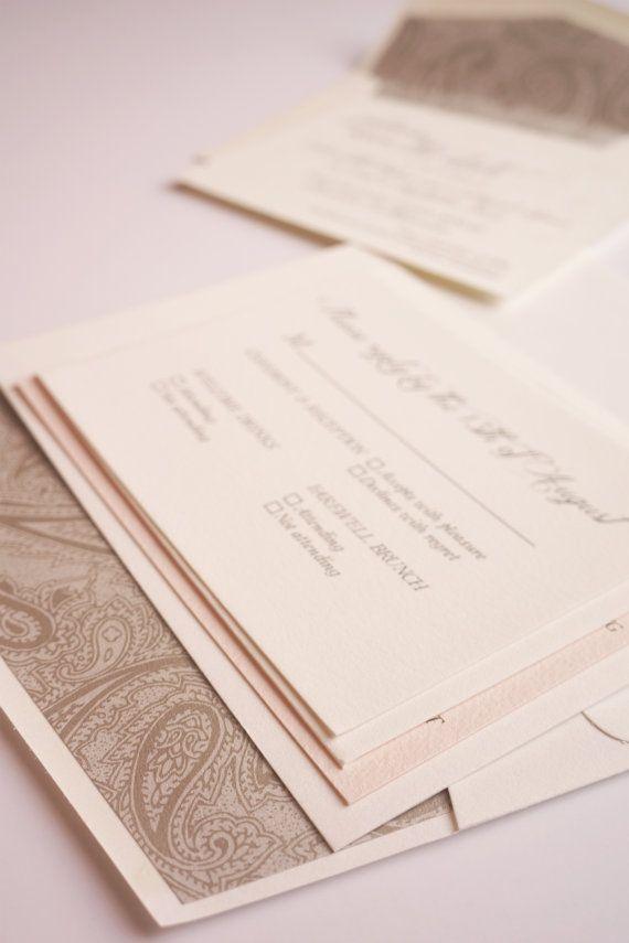 Romantic Blush and Grey Wedding Invitation by dodelinedesign