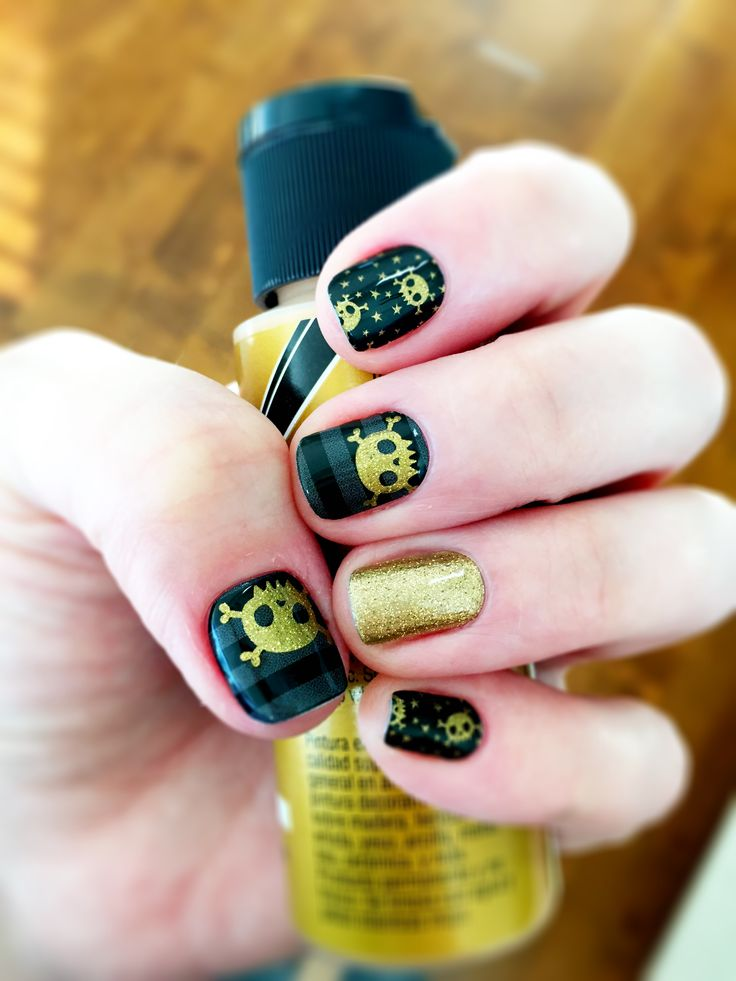 Jamberry Night Fright and Gold Sparkle