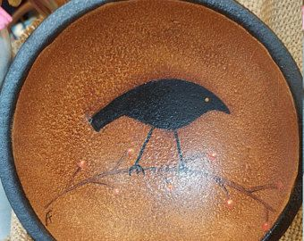 Primitive crow bittersweet bowl