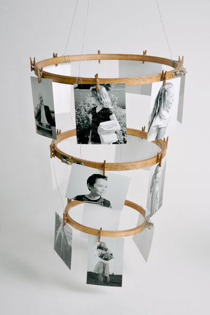 DIY embroidery hoop photo display