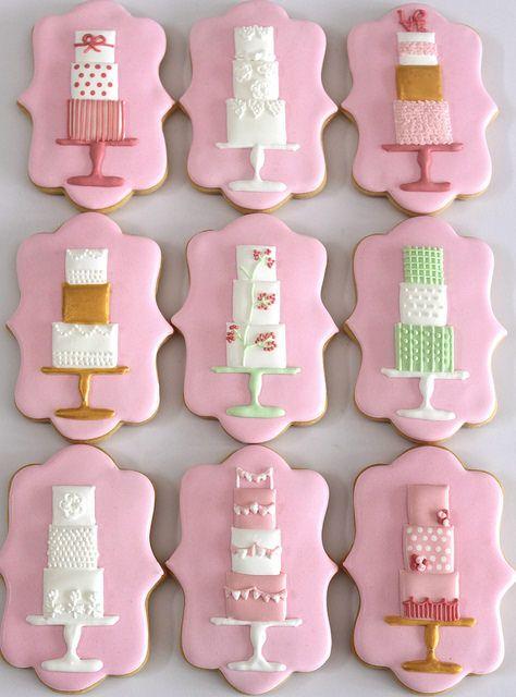 Modern wedding cake cookies by Miss Biscuit