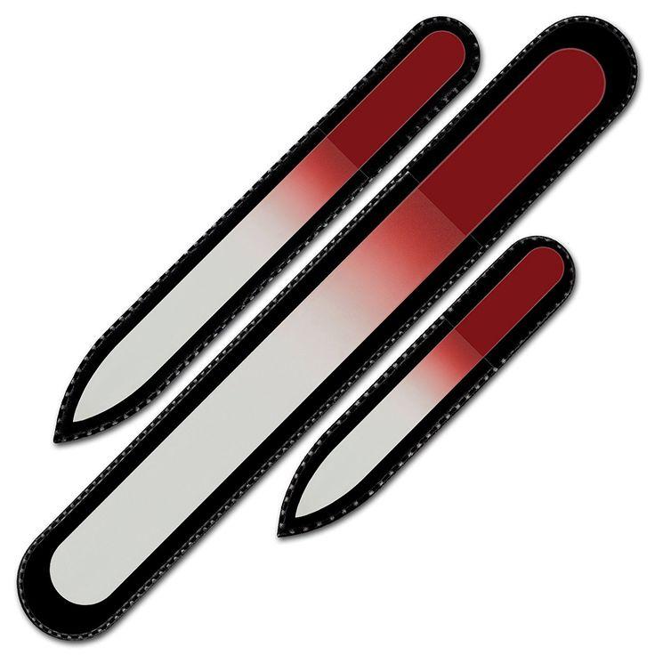 Conjunto de 3 limas de uñas de cristal de color en estuche de terciopelo negro, vidrio templado checo auténtico, Garantía de por vida | Fabricado a mano en la República Checa: Amazon.es: Belleza