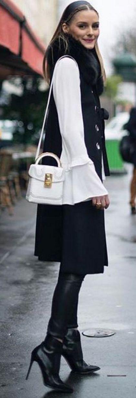 Olivia Palermo in ZARA sleeveless vest in Paris...