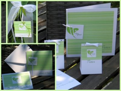"""Hochzeitspapeterie """"Streifen"""" in grün"""