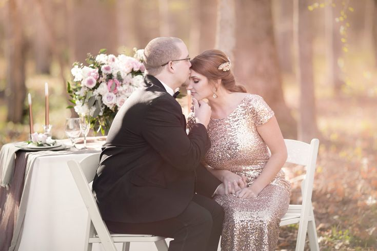 Luxury style DIY wedding with sequin dress and outdoor seating