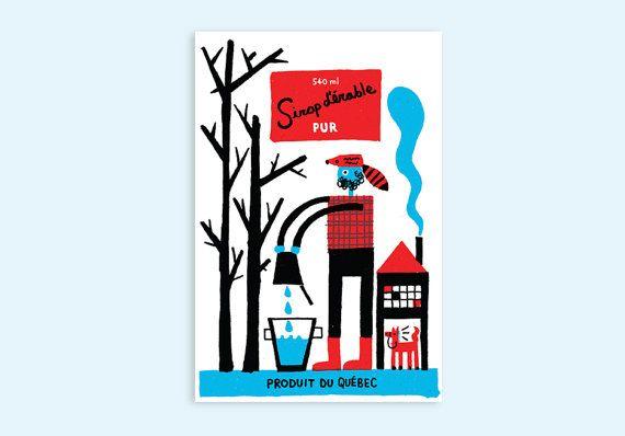 Québec Maple Syrup  Postcard par PAPEROLE sur Etsy