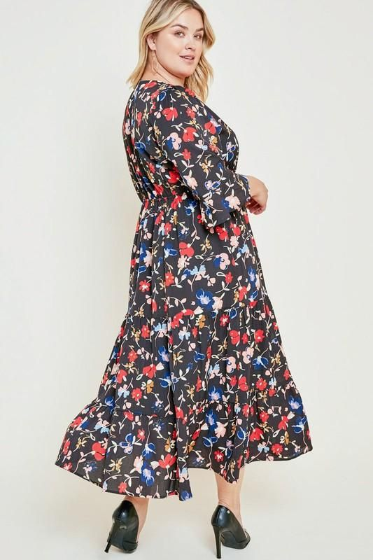 10007c64a9 Black Plus Size Floral Bell Sleeve Ruffle Midi Dress in 2019 | Women ...