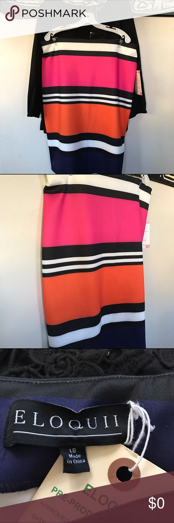 """Studio striped pencil skirt This is a production sample from Eloquii. *It came straight from the manufacturer so it does NOT have retail tags* Streamlined and sophisticated.  Inset elastic in waist seam. Invisible back zipper. Medium stretch scuba knit fabric. Each garment is unique - print placement may vary. Skirt Length: 26"""" 91% Polyester / 9% Spandex Machine wash cold on gentle cycle with like colors. Only non-chlorine bleach when needed. Tumble dry low. Cool iron as needed. Import…"""
