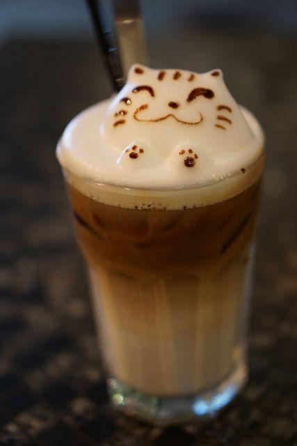 3D Latte Art - Cat @ Chock Full of Beans #coffee
