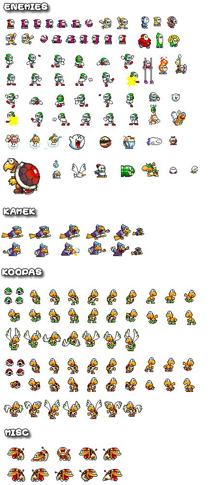 A sprite sheet featuring enemies like #ShyGuy and #KoopaTroopa from #YoshisIsland - Super Mario World 2 on the #SNES. Also features #Kamek More Sprites @ http://www.superluigibros.com/super-mario-world-2-sprites-bad-guys