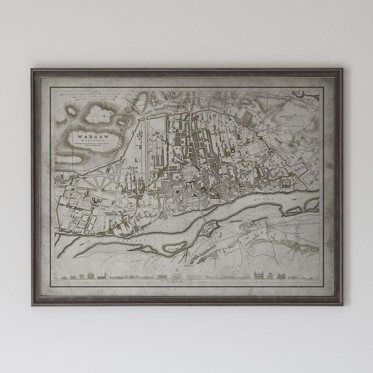 Warsaw Map: Vintage Map of Warsaw, Poland Circa 19th C.