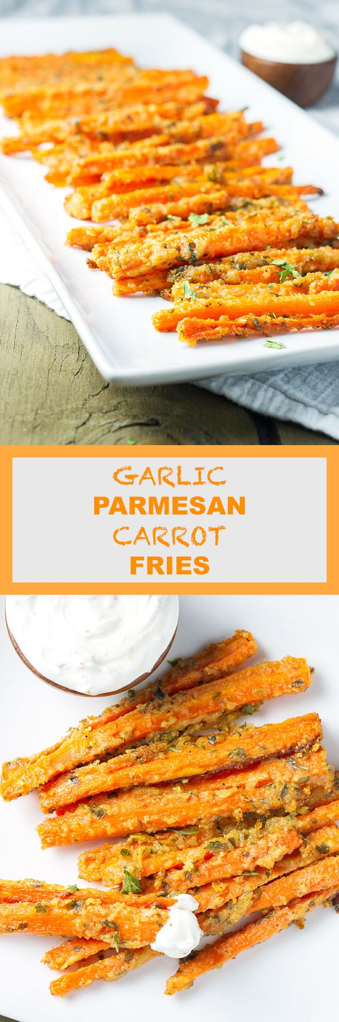 Carrots cut into fries, coated with garlic, parmesan, & olive oil, then roasted until crispy. Serve with lemony, garlic Greek yogurt dipping sauce.