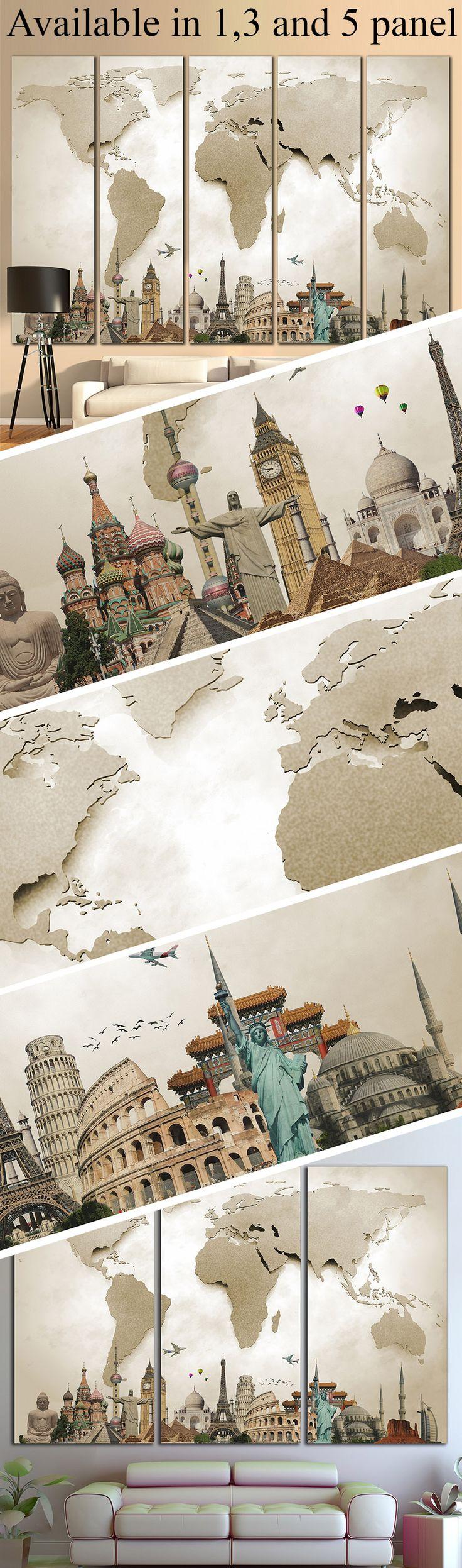 3D Effect World Map 702 Framed Canvas