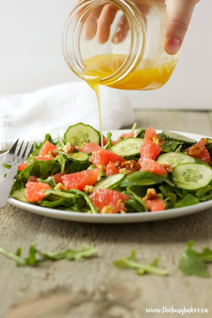 The Busy Baker: Grapefruit and Arugula Salad with Honey Lemon Vinaigrette